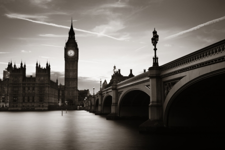 Big Ben and House of Parliament in London at dusk panorama. Stock Photo