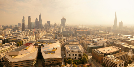 shard: London rooftop view panorama with urban architectures