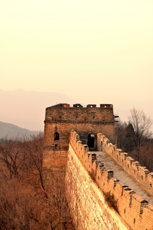 Great Wall closeup in the morning with sunrise and colorful sky in Beijing, China. photo