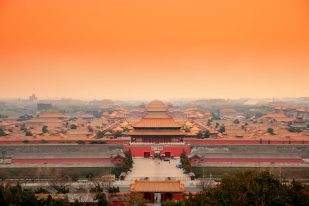 Aerial view of Imperial Palace in Beijing in red tone, China. photo