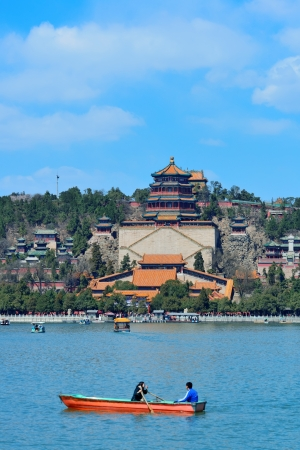 historical architecture: Summer Palace with historical architecture, lake and boat in Beijing. Stock Photo