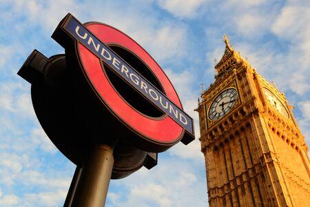 Underground sign with Big Ben in London.