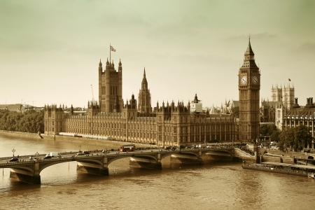 London Westminster with Big Ben and bridge. photo