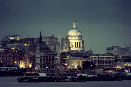 st  paul's: St Pauls Cathedral over Thames River at night in London. Stock Photo