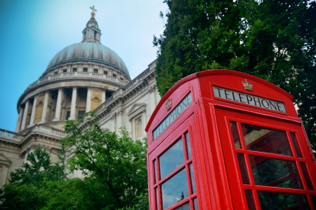 st  paul's: Red telephone booth and St Pauls Cathedral in London. Editorial
