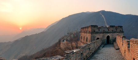 greatwall: Great Wall sunset panorama over mountains in Beijing, China  Stock Photo