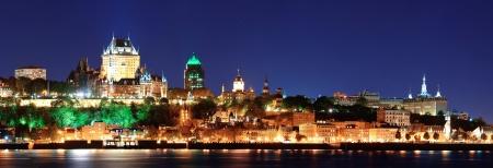 Québec Skyline Panorama in der Abenddämmerung über den Fluss Blick Lizenzfreie Bilder