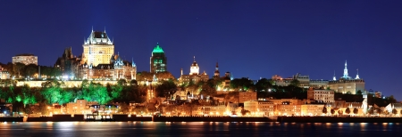 panorama city: Quebec City skyline panorama at dusk over river view