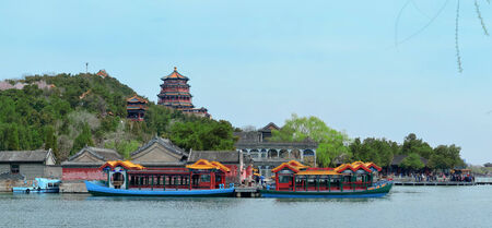 historical architecture: Summer Palace with historical architecture and boat in Beijing  Editorial