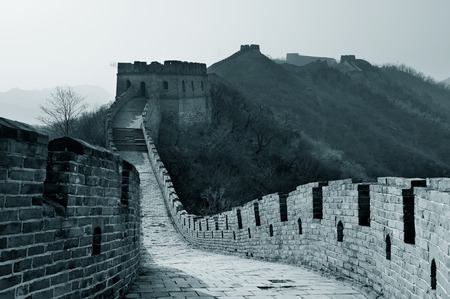 greatwall: Great Wall in black and white in Beijing, China Stock Photo