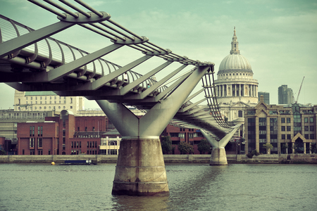 st  paul's: St Pauls Cathedral and Millennium Bridge in London.