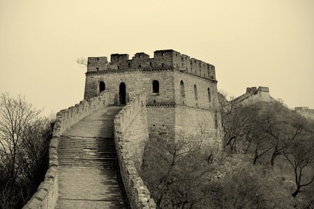 greatwall: Great Wall black and white over mountains in Beijing, China.