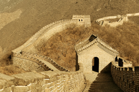 chinese wall: Great Wall in old yellow tone in Beijing, China