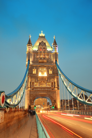 Tower Bridge in London as the famous landmark at dusk. Stock Photo