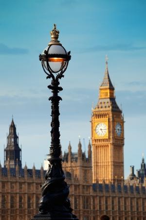 Vintage Lamp Post On Westminster Bridge With Big Ben In London ...