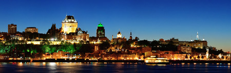 levis: Quebec City skyline panorama at dusk over river viewed from Levis  Stock Photo