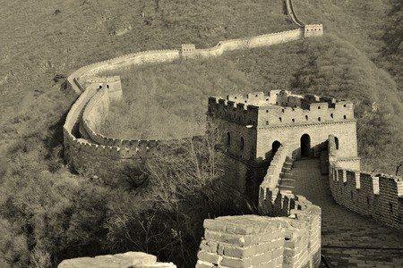 Great Wall in black and white in Beijing, China photo