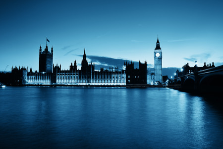 Big Ben and House of Parliament in London at dusk panorama. Stok Fotoğraf
