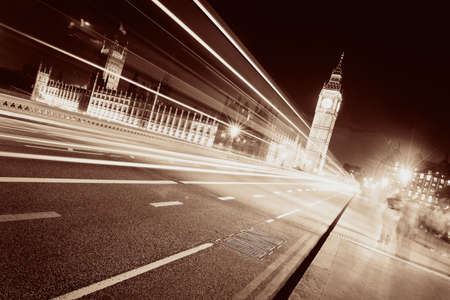 westminster: Light trail on Westminster Bridge with Big Ben at night in London. Stock Photo