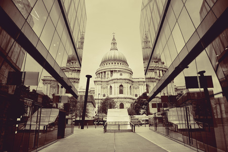 st  paul's: St Pauls Cathedral and reflections in day in London Stock Photo