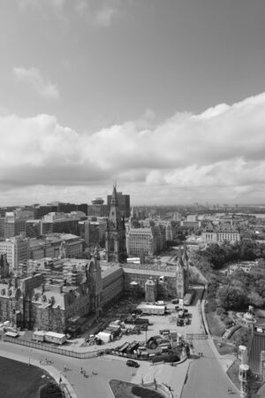 Ottawa city skyline view with historical buildings in black and white photo