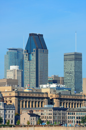 Montreal city skyline in the day with urban buildings photo
