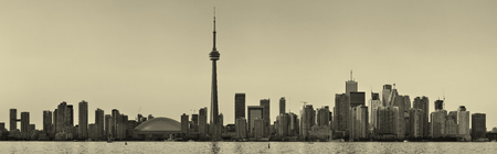 Toronto black and white over lake panorama with urban skyline.