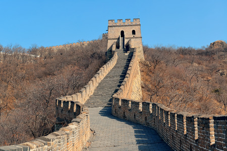 greatwall: Great Wall with clear blue sky in winter in Beijing, China