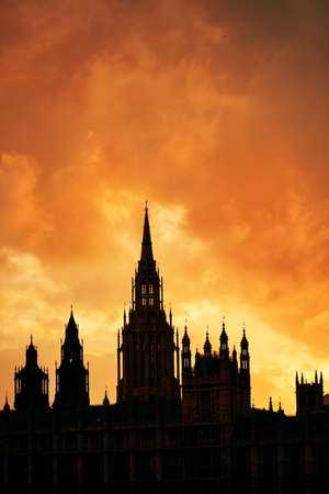palace of westminster: Westminster Palace silhouette with cloud in London.