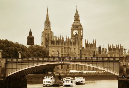 palace of westminster: Westminster Palace and bridge over Thames River in London in black and white