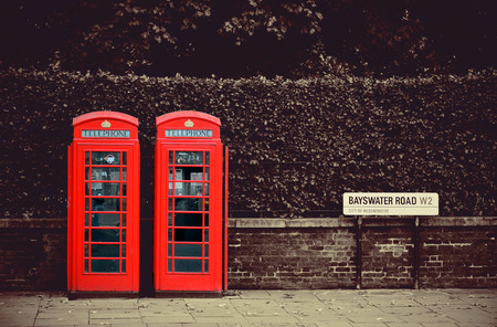 Telephone box in London street. photo