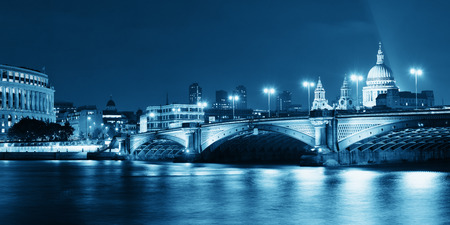 blackfriars bridge: Blackfriars Bridge and St Pauls Cathedral in London at night. Stock Photo