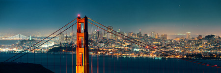 Golden Gate Bridge in San Francisco at night panorama Stock Photo