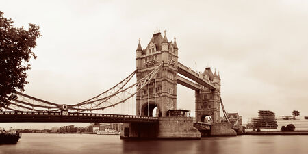 Tower Bridge in London over Thames River as the famous landmark. Stock Photo
