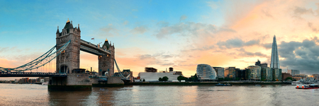 thames: Tower Bridge panorama over Thames River in London