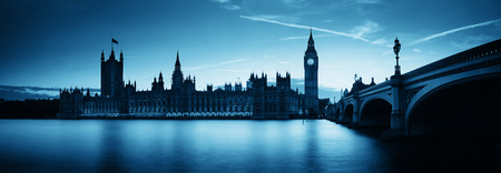 Big Ben and House of Parliament in London at dusk panorama. photo