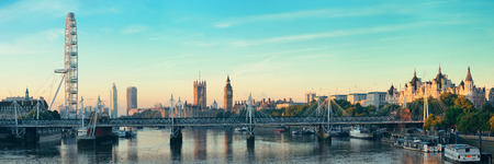 the palace of westminster: Thames River panorama with London Eye and Westminster Palace in London.