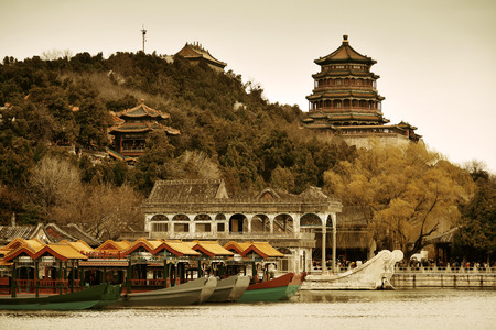 summer palace: Summer Palace with historical architecture in Beijing.