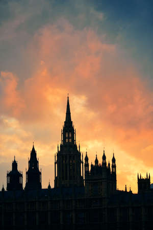 westminster: Westminster Palace silhouette with cloud in London.