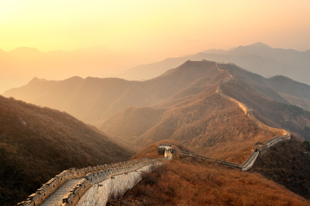 great: Great Wall in the morning with sunrise and colorful sky in Beijing, China.