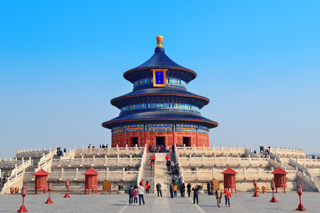 temple of heaven: BEIJING, CHINA - APR 6: Temple of Heaven with tourists on April 6, 2013 in Beijing, China. It is the religious complex where the Emperors pray to the Heaven for good harvest.