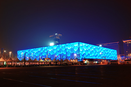 summer olympics: BEIJING, CHINA - APR 7: Beijing National Aquatics Center at night on April 7, 2013 in Beijing, China. The center was established for the 2008 Summer Olympics and Paralympics. Editorial