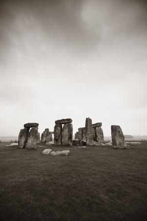 stonehenge: Stonehenge with cloud near London as the National Heritage site of UK. Stock Photo