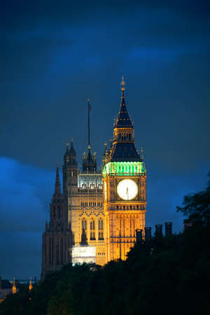 westminster: Westminster Palace at night lit in London. Stock Photo