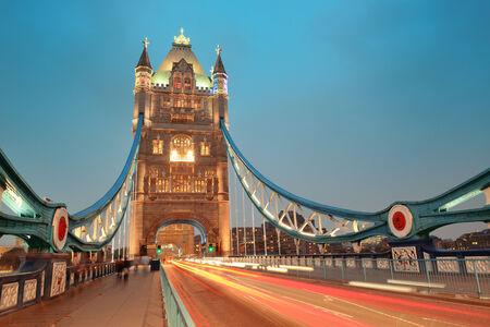 Tower Bridge in London as the famous landmark at dusk  Stock Photo