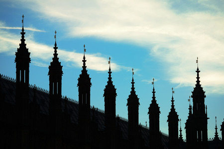 the palace of westminster: Westminster Palace silhouette with cloud in London.