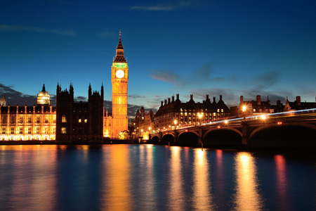 city of westminster: Big Ben and House of Parliament in London at dusk panorama. Stock Photo