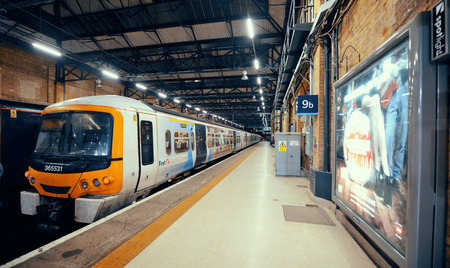 terminus: LONDON, UK - SEP 27: Kings Cross railway station interior on September 27, 2013 in London, UK. Opened in 1852, it is the southern terminus of the East Coast Main Line. Editorial