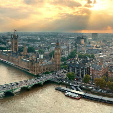 westminster: Westminster viewed from London Eye with House of Parliament, London. Stock Photo