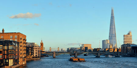 thames: London urban architecture panorama over Thames River Stock Photo